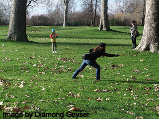 Playing Frisbee Golf