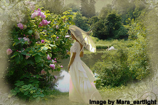 Romantic Lady in Garden