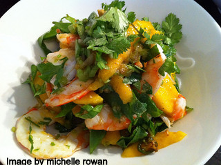 Avocado ,mango and prawn salad